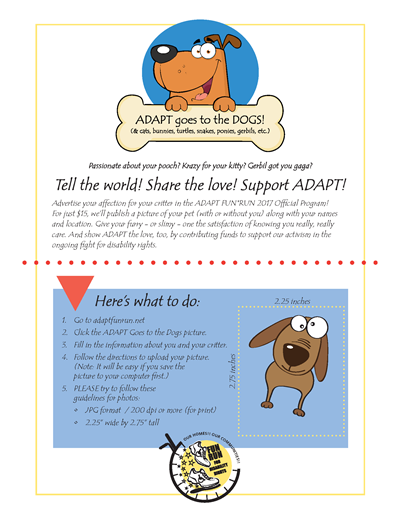 ADAPT Fun Run 2017 Poster - ADAPT goes to the DOGS!