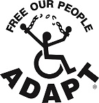 Adapt Logo - A person in a wheelchair breaking free of their chains, with the text Free Our People surrounding them.